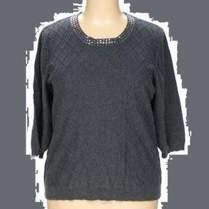 Silver Stud Embellished Grey Knit Pullover